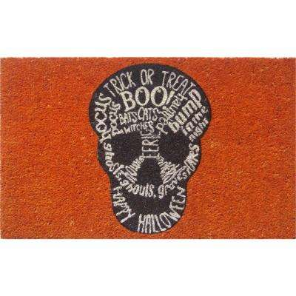Skull 17 in. x 28 in. Non-Slip Coir Door Mat