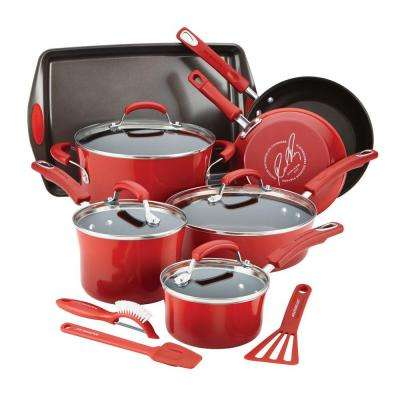 14-Piece Red Cookware Set with Lids