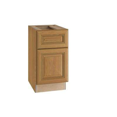 Lewiston Assembled 15x28.5x21 in. Single Door & Drawer Hinge Right Base Desk Cabinet in Toffee Glaze