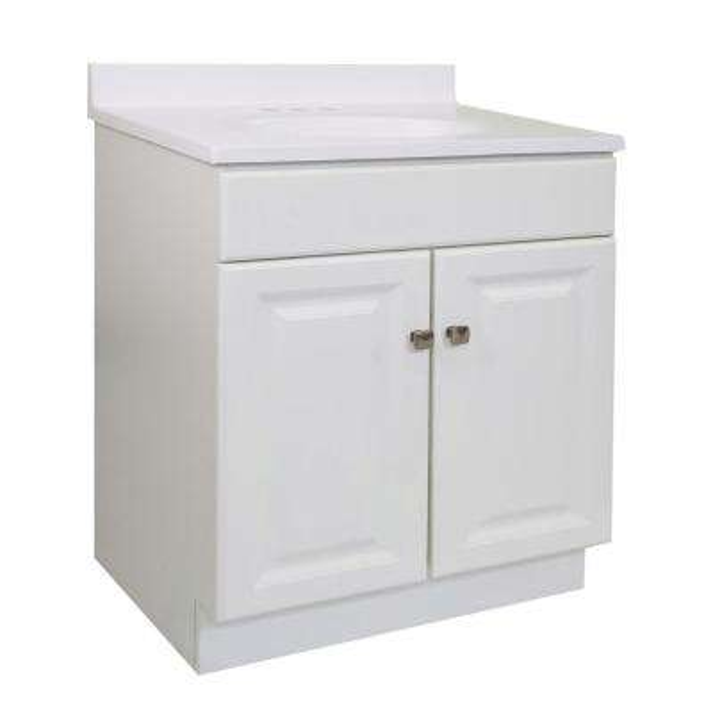 Wyndham RTA 30 in. x 18 in. x 33 in. 2-Door Bath Vanity in White w/ 4 in. Centerset Solid White CM Vanity Top w/ Basin