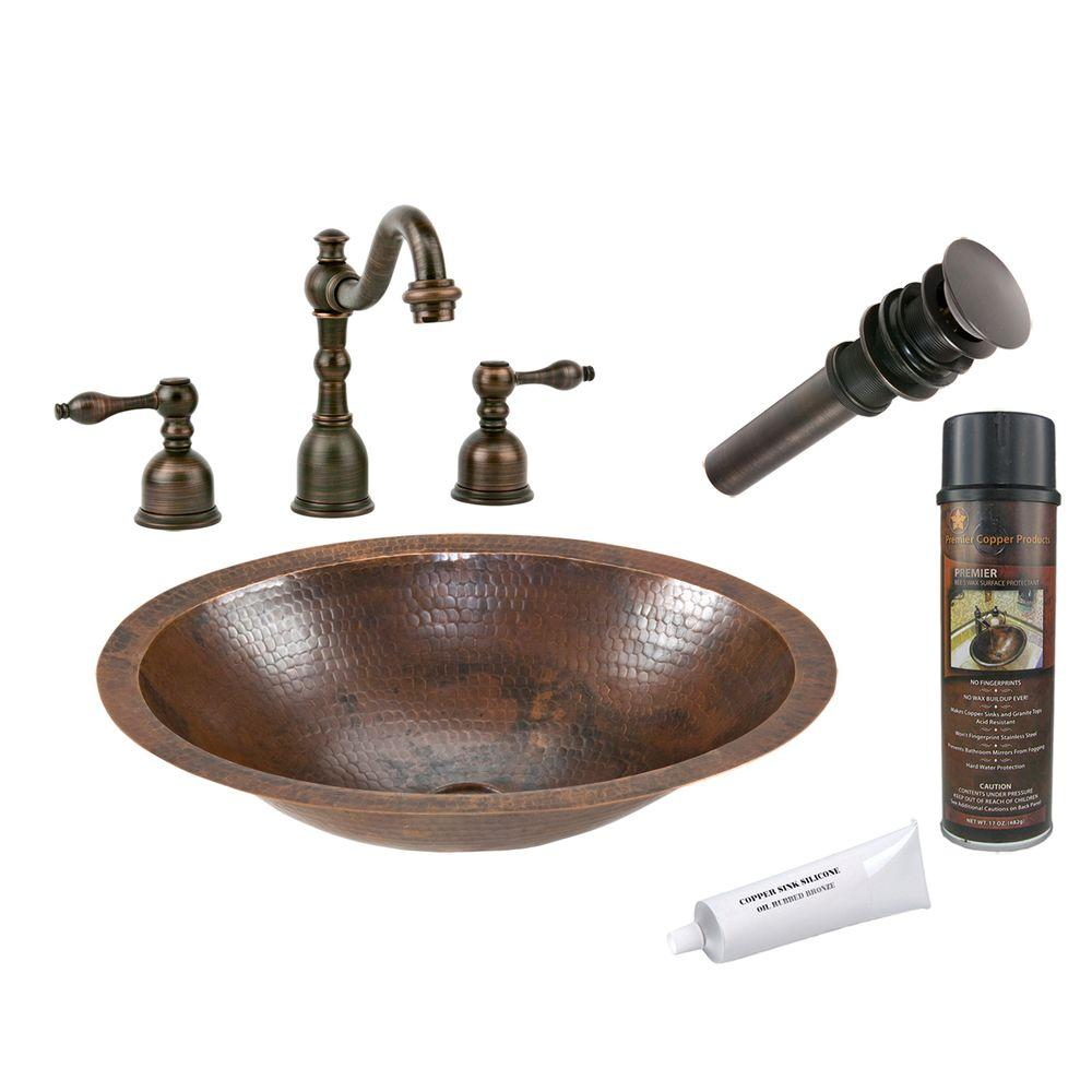 Premier Copper Products All In One Small Oval Under Counter Hammered Bathroom Sink