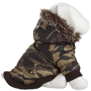 PET LIFE Small Camo Metallic Fashion Parka with Removable Hood by Parkas