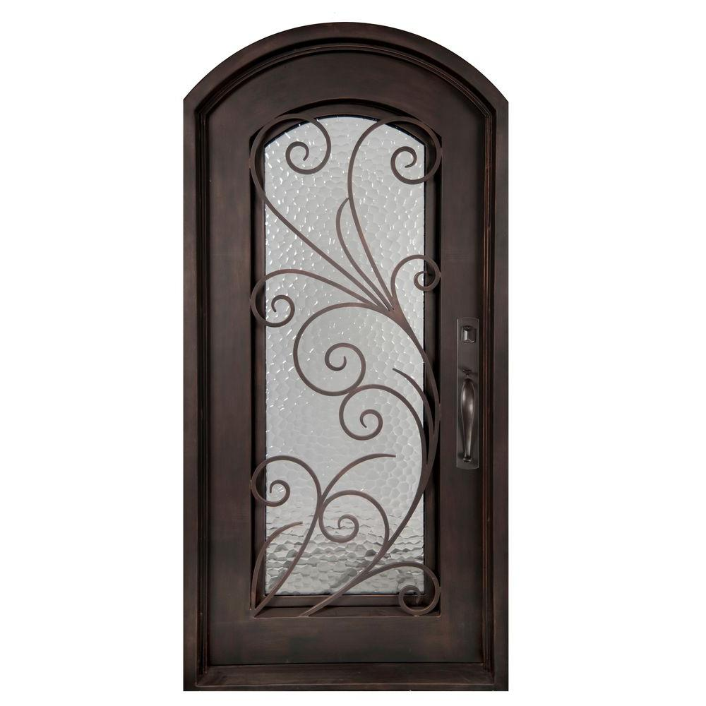 Iron Doors Unlimited 40 in. x 98 in. Flusso Classic Full Lite Painted Oil Rubbed Bronze Decorative Wrought Iron Prehung Front Door