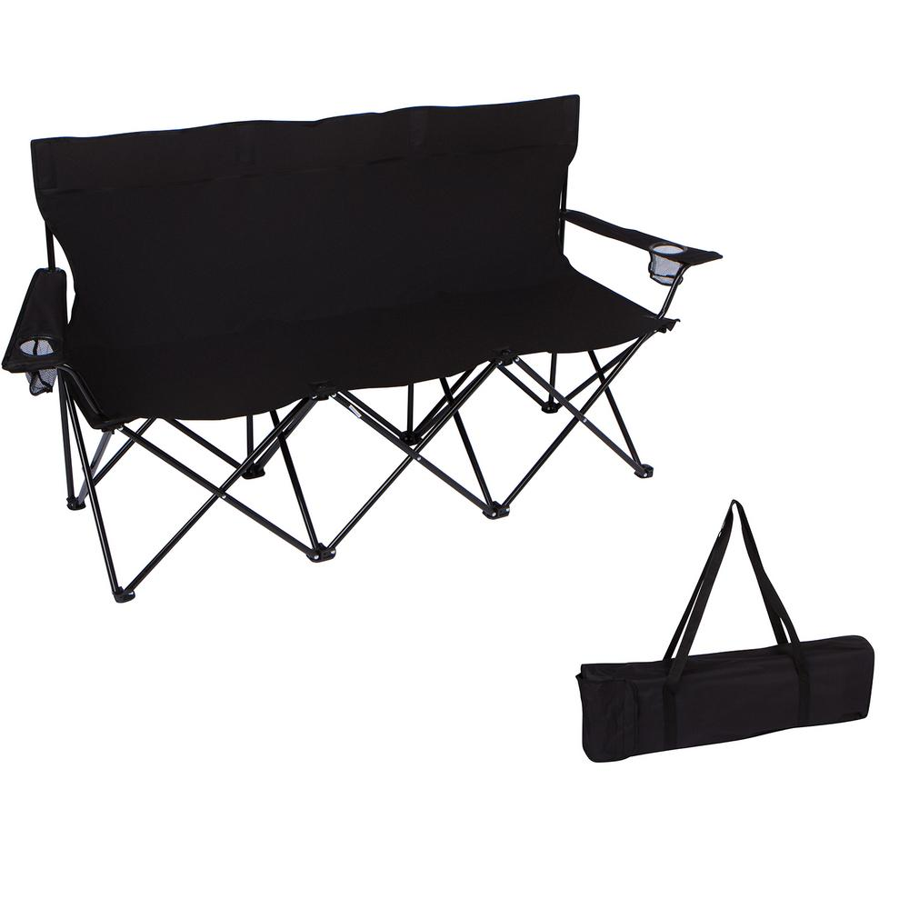 triple style black tri camp chair with steel frame and carry trademark innovations 65 in  triple style black tri camp chair      rh   homedepot