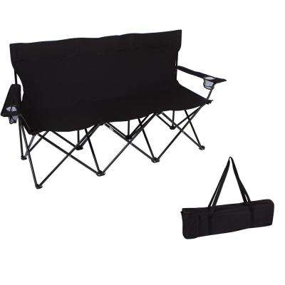 65 in. Triple Style Black Tri Camp Chair with Steel Frame and Carry Bag