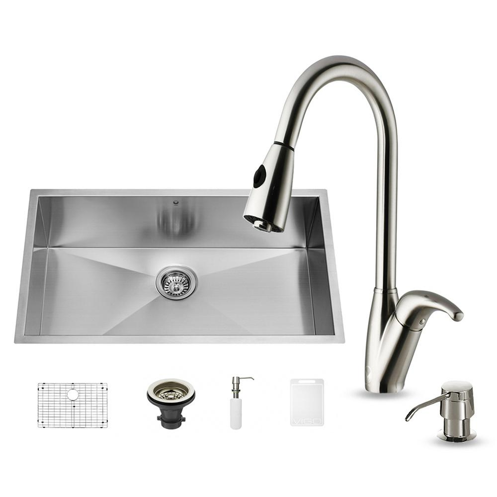 undermount kitchen sink with faucet holes vigo all in one undermount stainless steel 32 in 0 27597