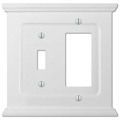 Mantel 2 Gang 1-Toggle and 1-Rocker Wood Wall Plate - White