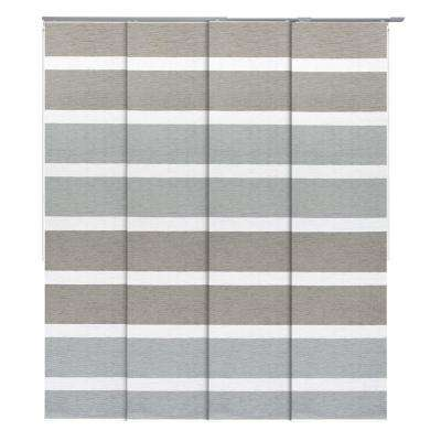 Limestone Natural Woven Adjustable Sliding Window Panel Track with 23 in. Slates Up to 86 in. W x 96 in. L
