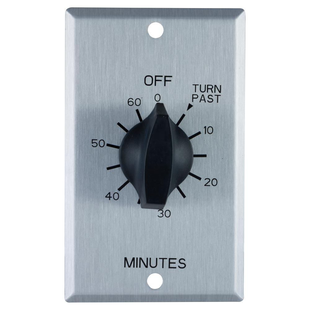 20 Amp 60-Minute In-Wall Spring Wound Timer Switch with Stainless Steel