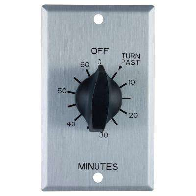 20 Amp 60-Minute In-Wall Spring Wound Timer Switch with Stainless Steel Wall Plate