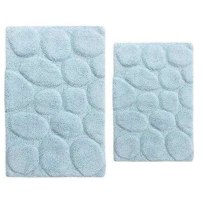 Light Blue 20 in. x 30 in. and 24 in. x 40 in. Palm Bath Rug Set (2-Piece)