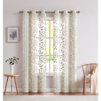 Rita 76 in. x 96 in. In. Embroidered Window Panel Pair In Linen
