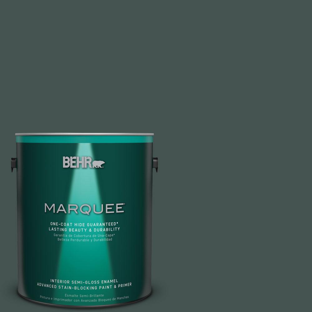 BEHR MARQUEE 1 gal. #MQ6-44 Black Evergreen One-Coat Hide Semi-Gloss Enamel Interior Paint