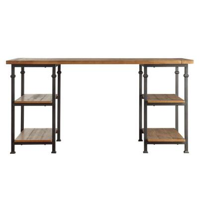 60 in. Rectangular Natural Writing Desk with Built-In Storage