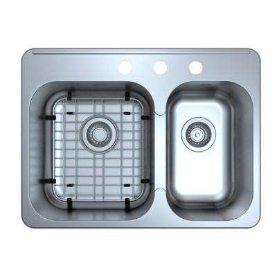 Capri Series Drop-In Stainless Steel 27 in. 3-Hole Double Bowl Kitchen Sink with Grid and Strainers