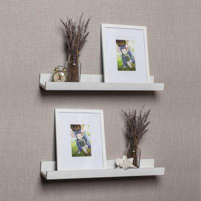 Contempo 21.5 in. W x 2 in. H White MDF Ledge Shelves with 2 Photo Frames (Set of 2)