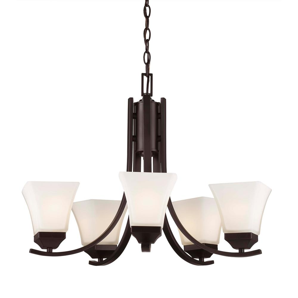 Bel Air Lighting Cameo 5-Light Rubbed Oil Bronze Chandelier with Frosted Shades