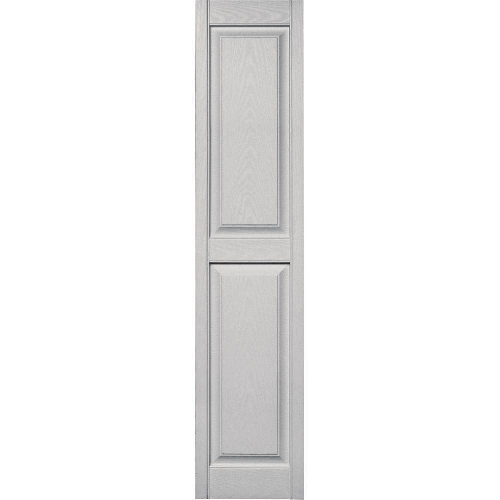 Builders Edge 15 in. x 67 in. Raised Panel Vinyl Exterior Shutters Pair in #030 Paintable