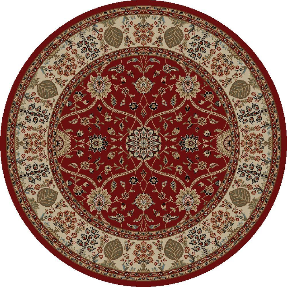 Concord Global Trading Jewel Voysey Red 5 ft. 3 in. Round Area Rug