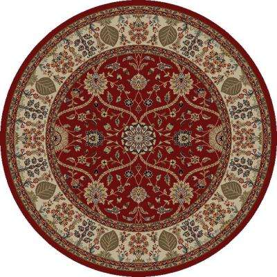 Jewel Voysey Red 5 ft. 3 in. Round Area Rug