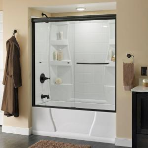 Simplicity 60 in. x 58-1/8 in. Semi-Frameless Sliding Bathtub Door in Bronze with Clear Glass