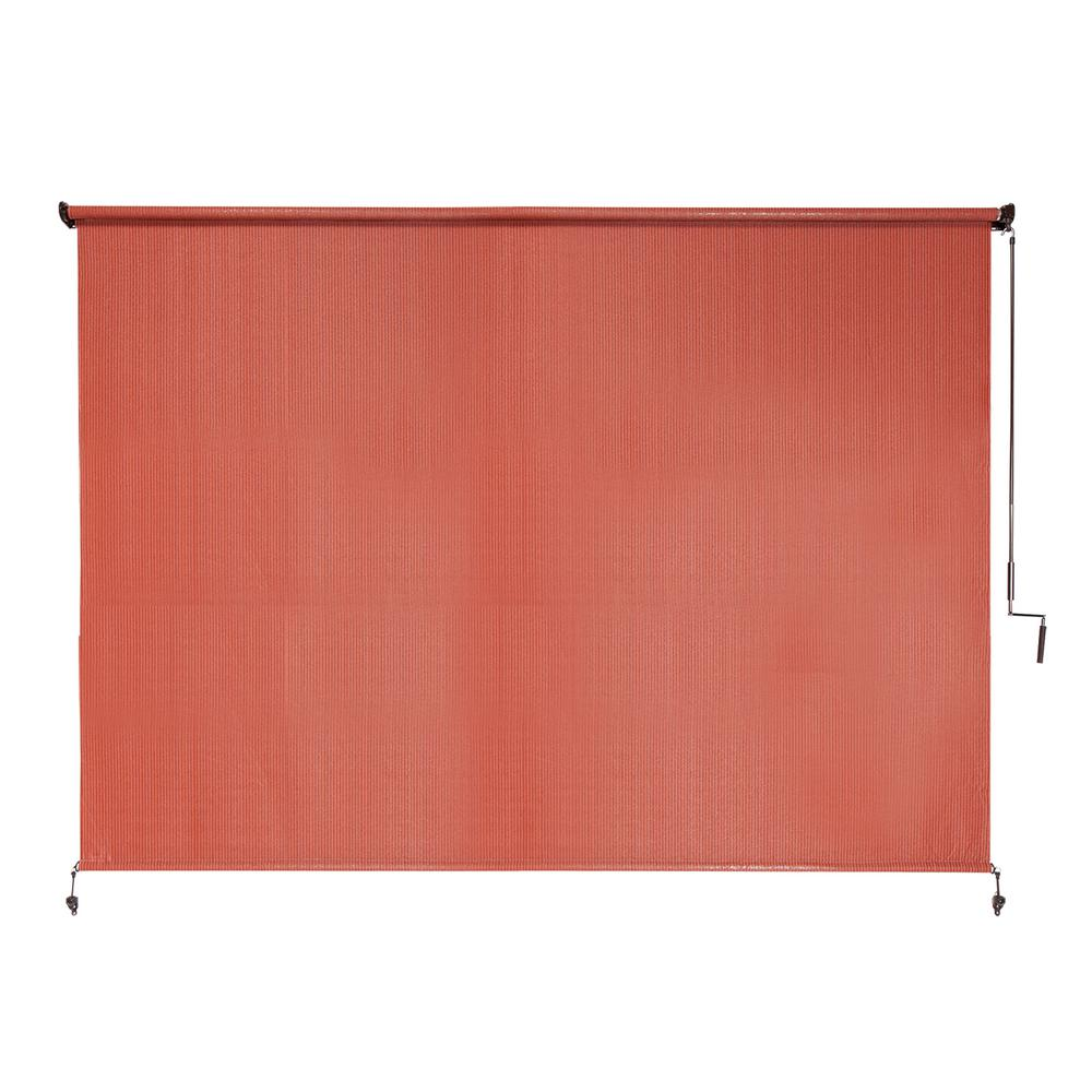Coolaroo Terracotta Cordless UV Blocking Fade Resistant Polypropylene Exterior Roller Shade 96 in. W x 72 in. L