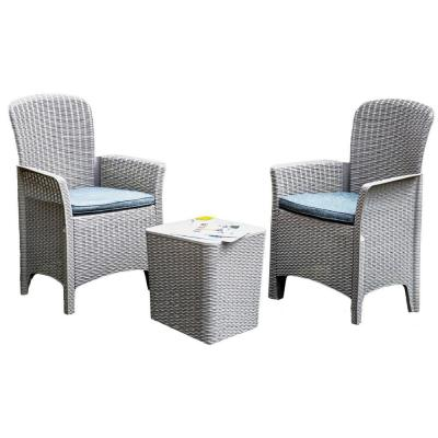 Gray 3-Piece Plastic Outdoor Bistro Set with Gray Seat Cushion