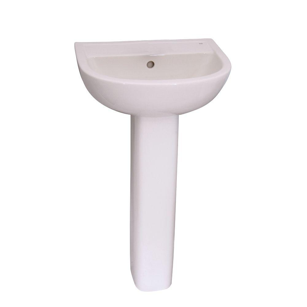 Barclay Products Compact 450 18 in. Pedestal Combo Bathroom Sink for 4 in. Centerset in White