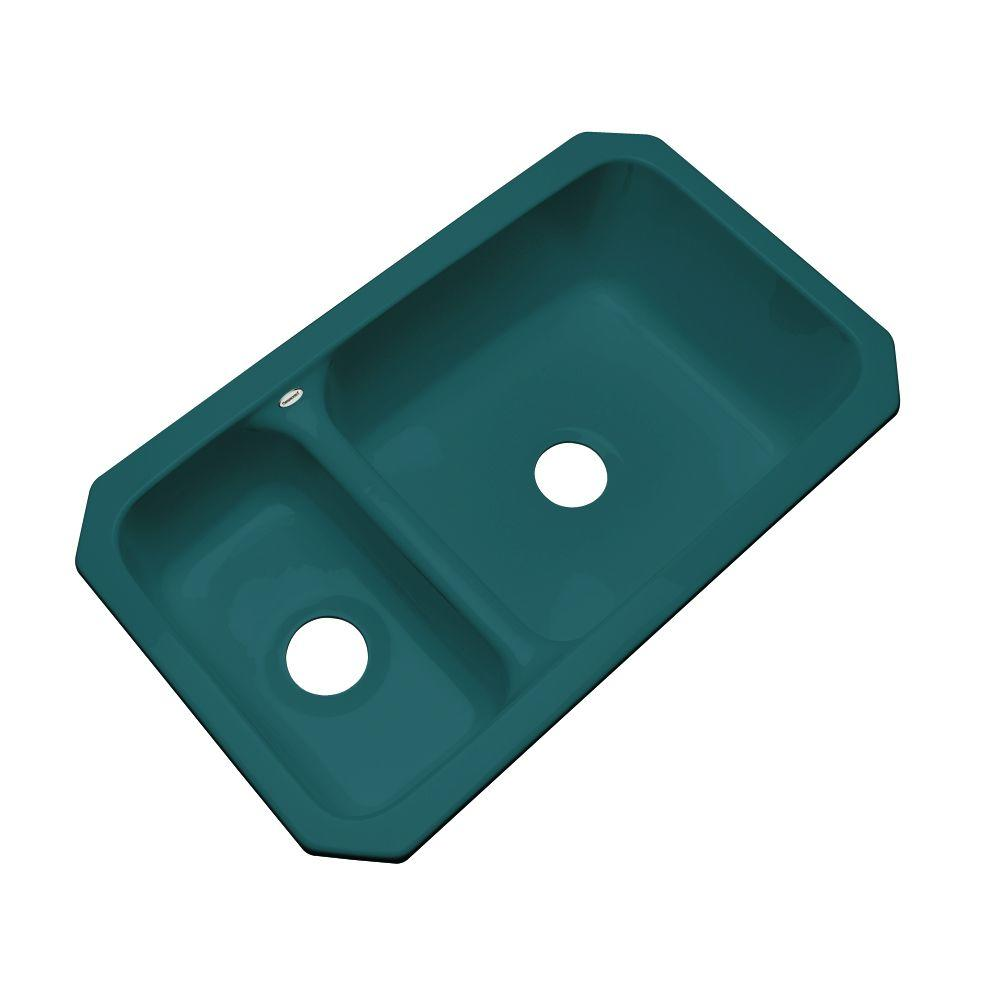 Wyndham Undermount Acrylic 33 in. Double Bowl Kitchen Sink in Teal (Blue)