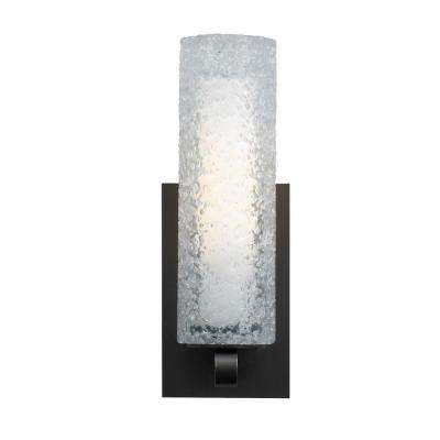 Mini-Rock Candy Cylinder 1-Light Bronze Halogen Wall Light with Clear Shade