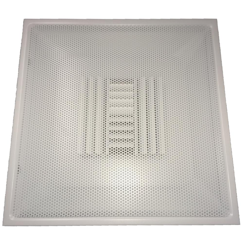 SPEEDI-GRILLE 24 in. x 24 in. Drop Ceiling T-Bar Perforated Face Air Vent Register, White with 6 in. Collar