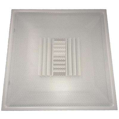 24 in. x 24 in. Drop Ceiling T-Bar Perforated Face Air Vent Register, White with 12 in. Collar