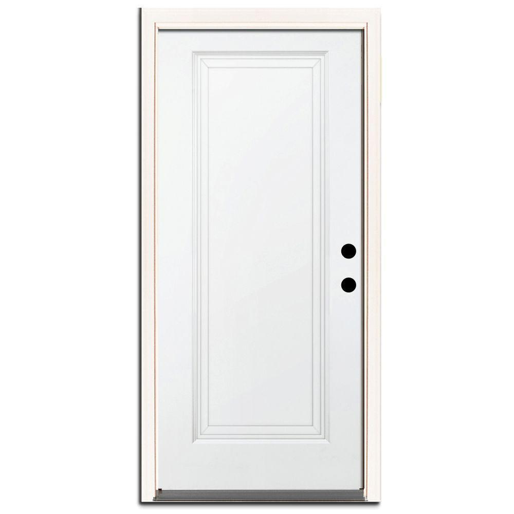 36 in. x 80 in. Premium 1-Panel Primed White Steel Prehung