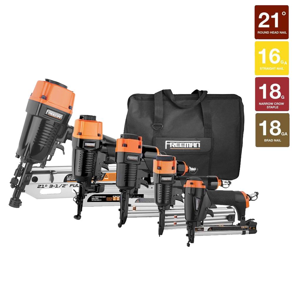 Freeman Pneumatic Framing and Finishing Nailers and Staplers Combo Kit with Canvas Bag and Fasteners (5-Piece)