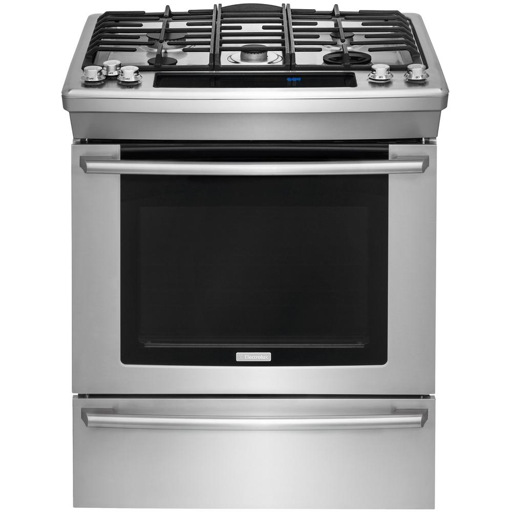 Electrolux Wave-Touch 4.6 cu. ft. Slide-In Dual Fuel Rang...