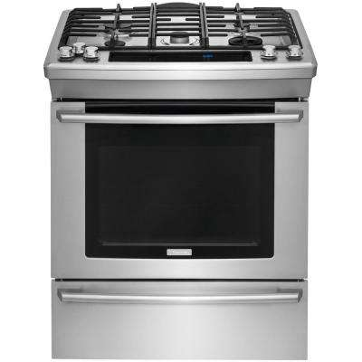 Wave-Touch 4.6 cu. ft. Slide-In Dual Fuel Range with Self-Cleaning Convection Oven in Stainless Steel