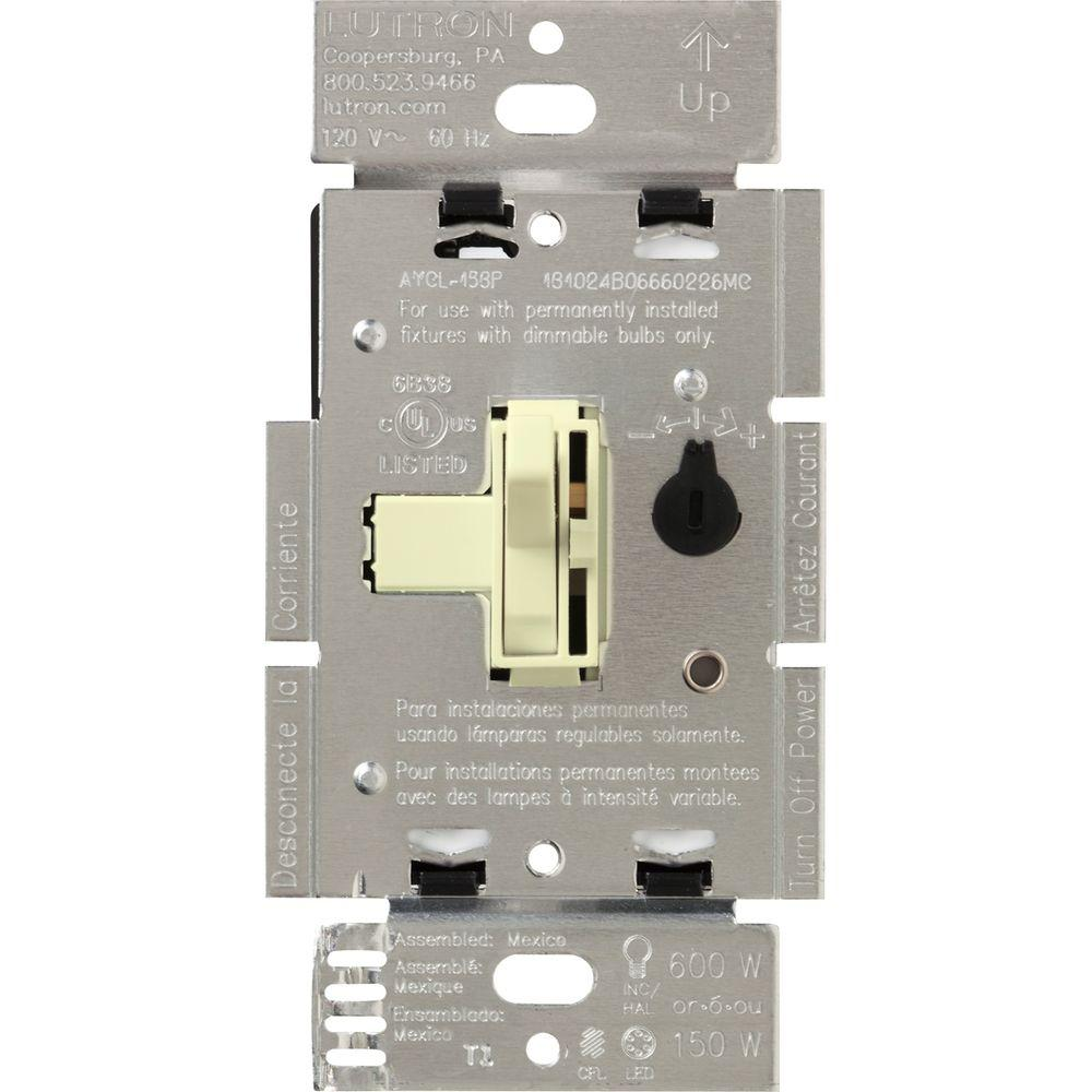 almond lutron dimmers aycl 153p al 64_1000 lutron toggler 150 watt single pole 3 way cfl led dimmer almond lutron 3 way led dimmer wiring diagram at honlapkeszites.co