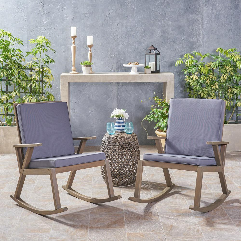 Champlain gray wood outdoor rocking chairs with dark gray cushions 2 pack