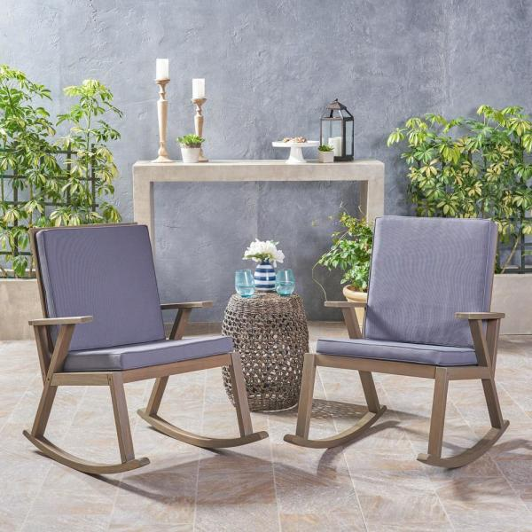 Champlain Gray Wood Outdoor Rocking Chairs with Dark Gray Cushions (2-Pack)