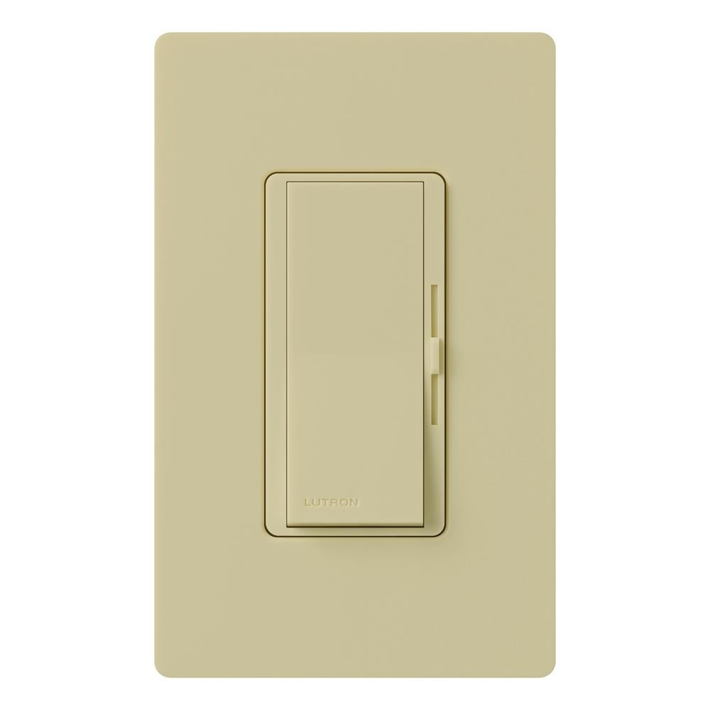 Diva 150-Watt Single-Pole/3-Way CFL-LED Dimmer with Wallplate, Ivory