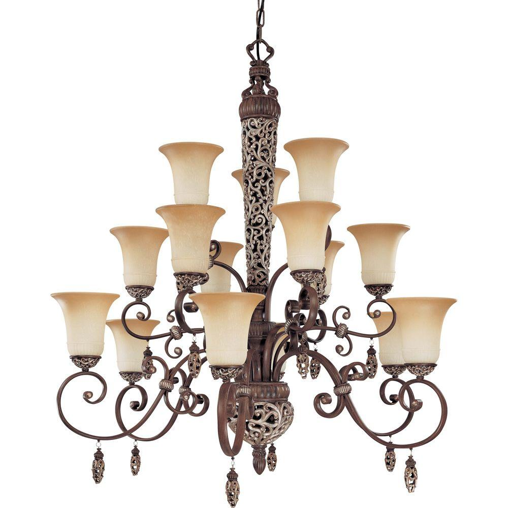 Glomar Palermo - 15-Light Chandelier 3 Tier with Amaretto Glass Cappuccino-DISCONTINUED
