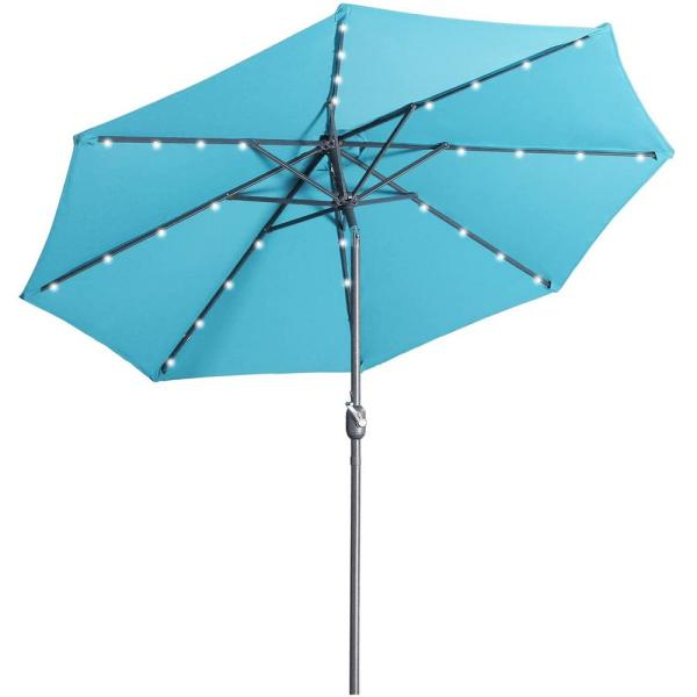 Outdoor Patio 9 ft. Aluminum Tilt Half Beach Umbrella in Lake Blue Without Base