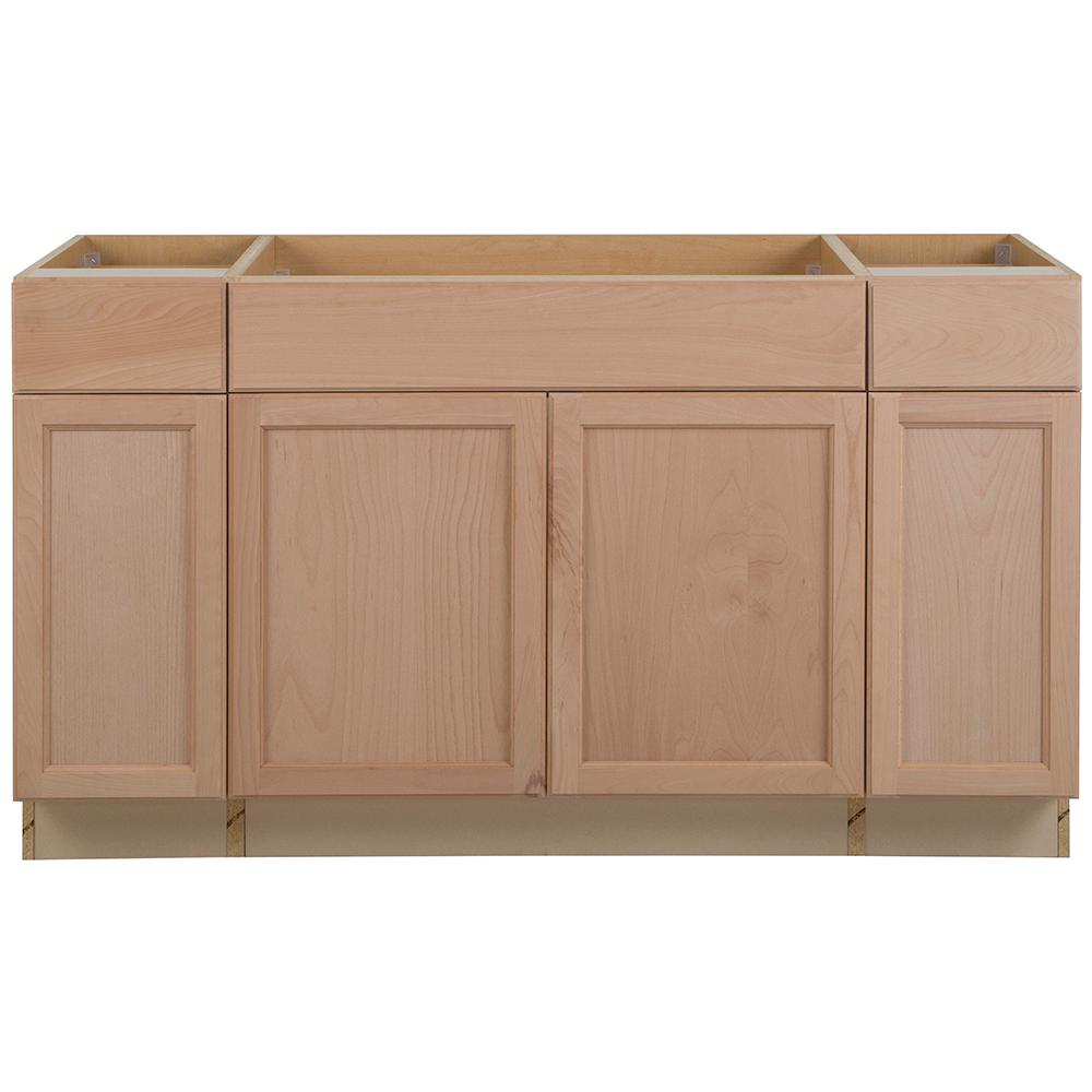 Unbranded Easthaven Shaker Assembled 60x34 5x24 In Frameless Sink Base Cabinet With 2 Drawers In Unfinished Beech Eh6035s Gb The Home Depot
