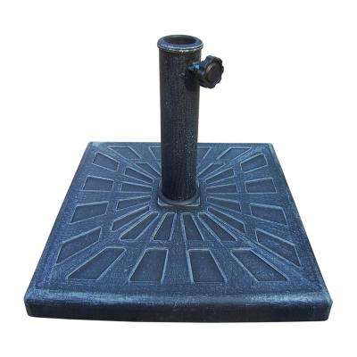 Cast Polyresin Square Patio Umbrella Base in Verdi Grey