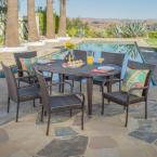 Jayson Multibrown 7-Piece Wicker Oval Outdoor Dining Set with Stackable Chairs