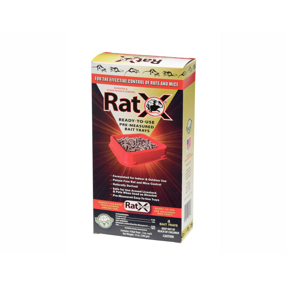RatX Ready-To-Use Pre-Measured Rat Bait Trays (4-Pack)