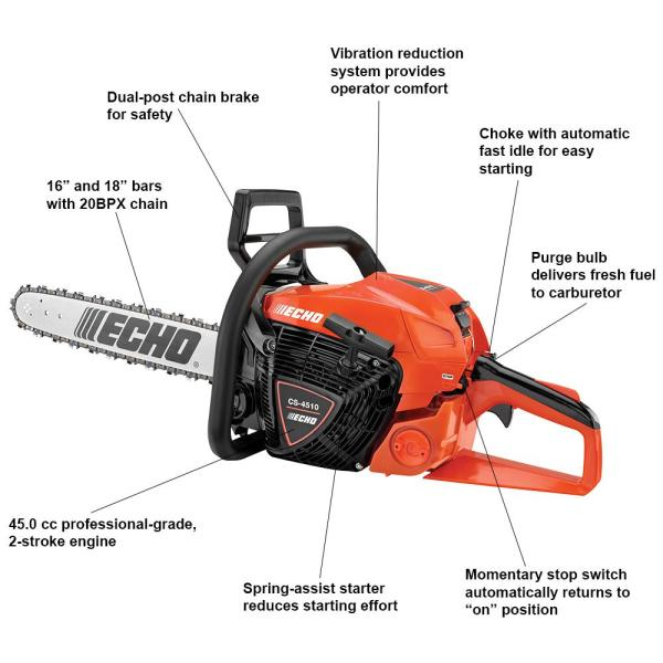 Echo 16 In 45 0 Cc Gas 2 Stroke Cycle Chainsaw Cs 4510 16 The Home Depot