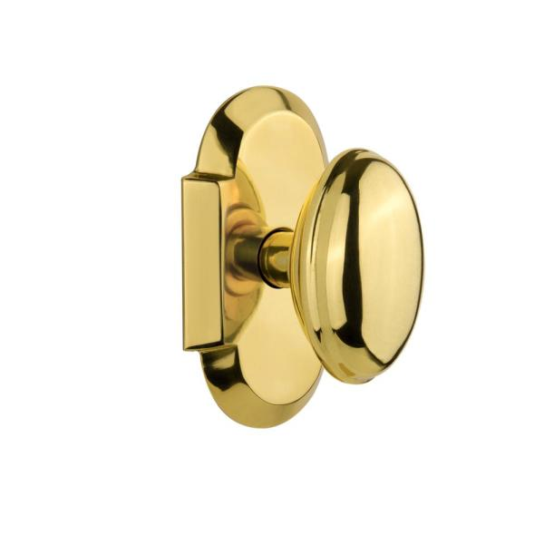 Nostalgic Warehouse Cottage Plate 2 3 8 In Backset Polished Brass Privacy Bed Bath Homestead Door Knob 712914 The Home Depot