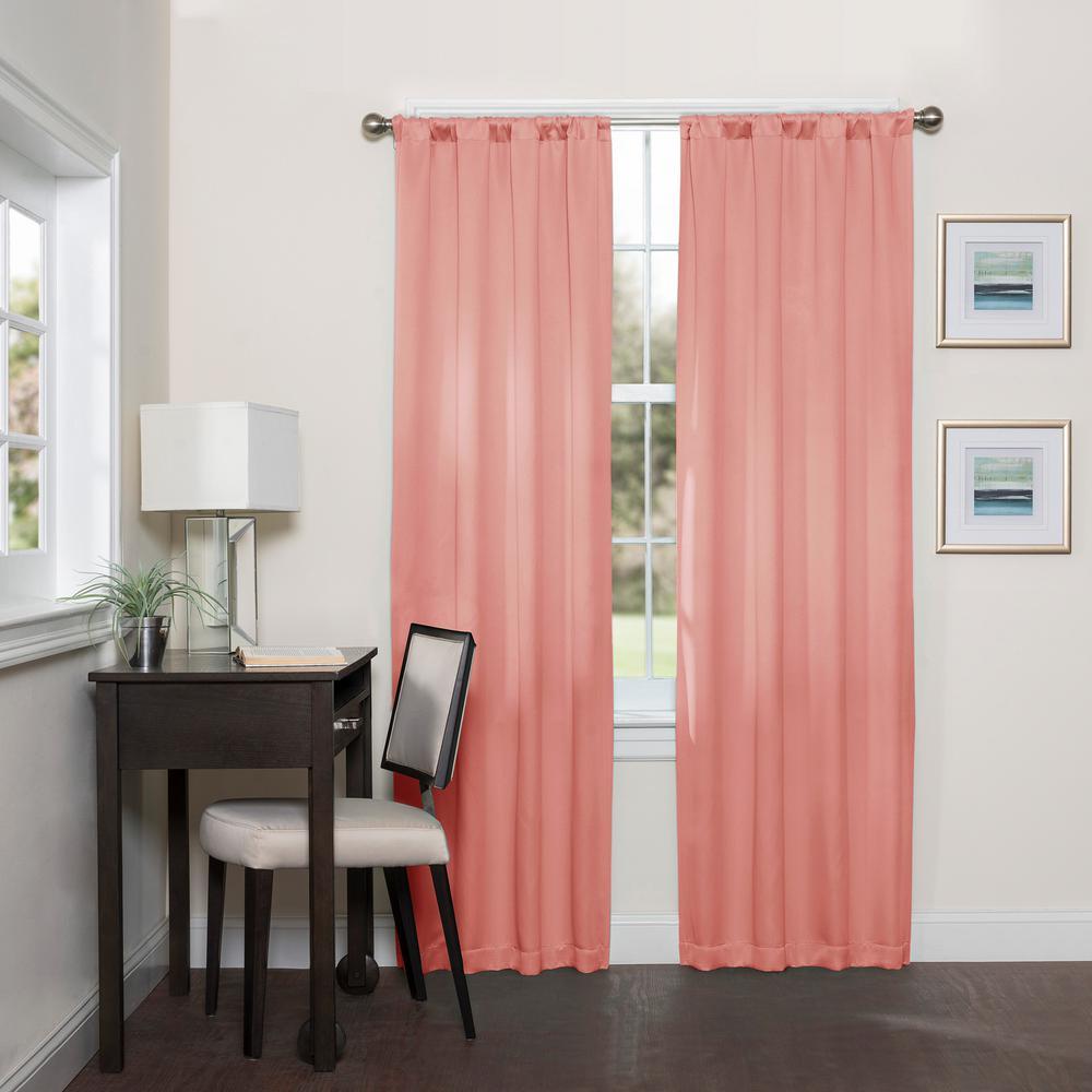 Room Darknening Coral Smooth Polyester Rod Pocket Curtain (1-Pair)
