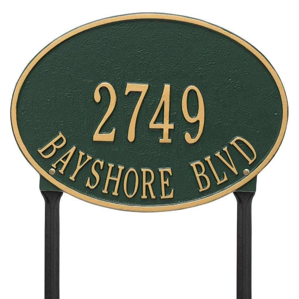 Whitehall Products Hawthorne Standard Oval Green/Gold Lawn 2-Line Address Plaque
